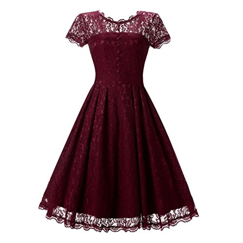 Price comparison product image Women Long Dress Daoroka Women's Sexy New Fashion Vintage Lace Short Sleeve Formal Patchwork Wedding Dress Cocktail Retro Swing Evening Party Skirt Fit Flare Ladies Casual Mini Dress (XL, Red)