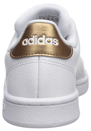adidas Women's Cloudfoam Advantage Cl Sneaker, White/White/Copper Metallic, 7