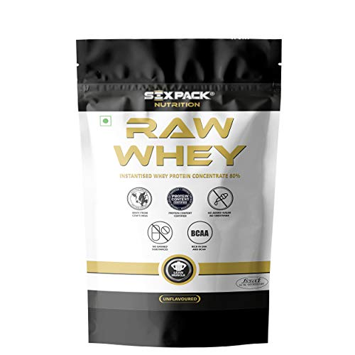 Six Pack Nutrition Raw Whey Protein Concentrate 80% Unflavored – 24g Protein, 5.4g BCAA,4g Glutamic Acid 907g / 2 lbs