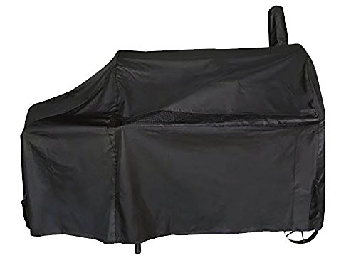 iCOVER 60 Inch 600D Heavy-Duty Premium classic outdoor Canvas BBQ Barbecue Black Off-Set Smoker Cover G21608 for weber char-broil Brinkmann Nexgrill