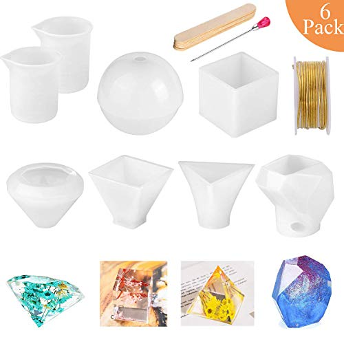 6 Pack Resin Molds,Tuyouger Large Resin Silicone Molds for Casting Resin, Soap, Wax,Including Cube, Pyramid, Sphere, Diamond, Stone Resin Mold Perfect for DIY Christmas Gift (Clear)