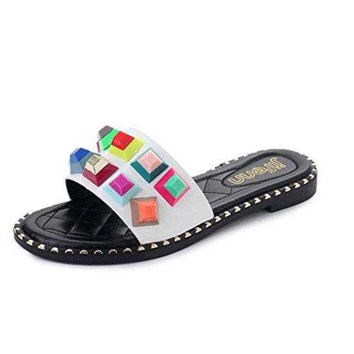 (Women Flat Sandals Stud Colorful Rhinestones Slipper Dressy Rivets Slides)