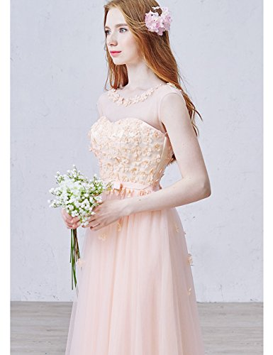 Abendkleider Lactraum Blumen 3D Rosa Perspektive Schleife LF4235 Brautjungfernkleid rrqgUwRO
