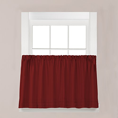 SKL Home Holden Tier Curtain Pair, Garnet, 57 inches x 24 in