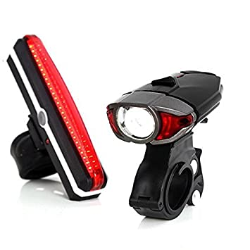 Unigear Luces Para Bicicleta Super Brillante Recargable Impermeable LED Luz Trasera Y Delantera 6 + 3