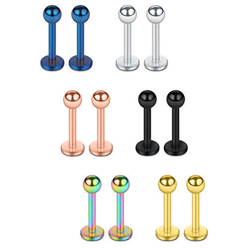 SCERRING 12PCS 16g Stainless Steel 3mm Ball Labret Monroe Lip Tragus Helix Earring Ring 8mm - Mix Color