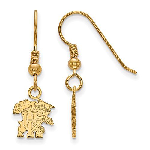 Jewelry Stores Network University of Kentucky Wildcats Mascot Logo Dangle Earrings Gold Plated Silver XS - (10 mm x 9 mm)