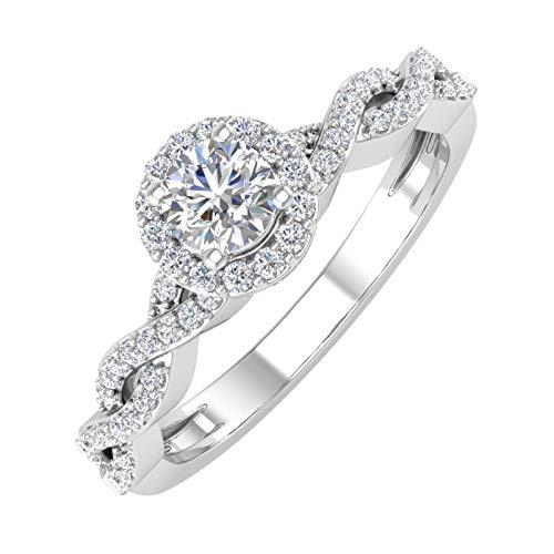 14K Gold Round Diamond Ladies Solitaire Swirl Halo Engagement Ring (0.40 Carat) - IGI (Ring Size 7)