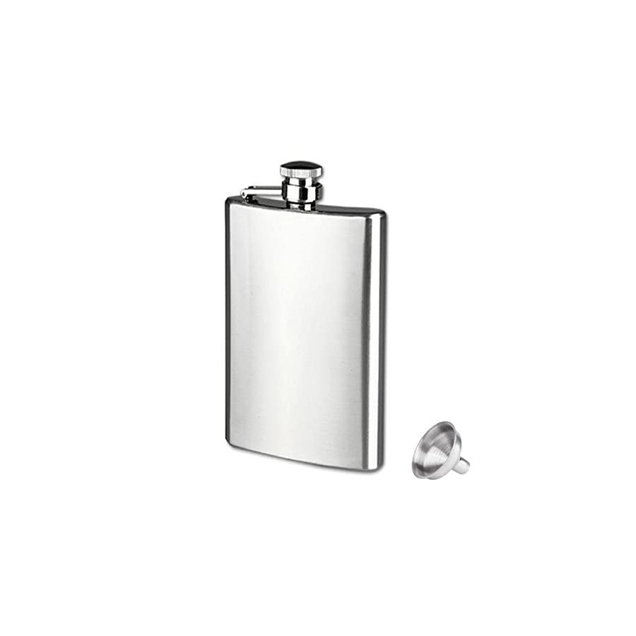 Iuhan® Fashion Stainless Steel Pocket Hip Flask Alcohol Whiskey Liquor Screw Cap + Funnel