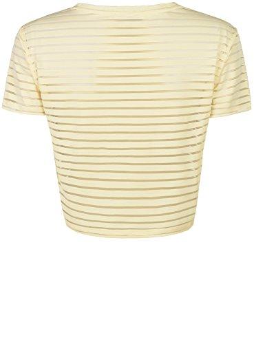 oodji Ultra Mujer Top con Franjas Transparentes Amarillo (5000N)