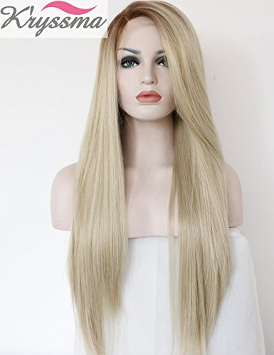 Kryssma-Fashion-Ombre-Blonde-Glueless-Lace-Front-Wigs-2-Tone-Color-Brown-Roots-Side-Part-Long-Natural-Straight-Heat-Resistant-Synthetic-Hair-Replacement-Wig-For-Women-Half-Hand-Tied