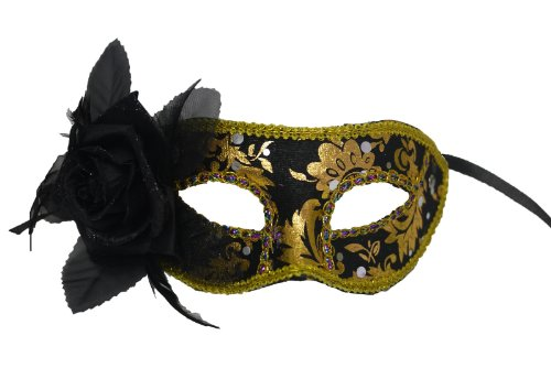 Masquerade Ball Venetian Black and Gold Pattern Mask w/ Black Flower on Side - Adult Gold And Beads Venetian Mask