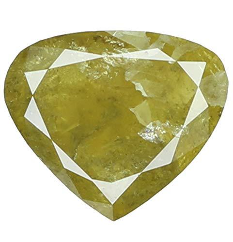 Narshiha Natural Loose Diamond Heart Yellow Color I3 Clarity 6.10 MM 1.07 Ct N7234 ()