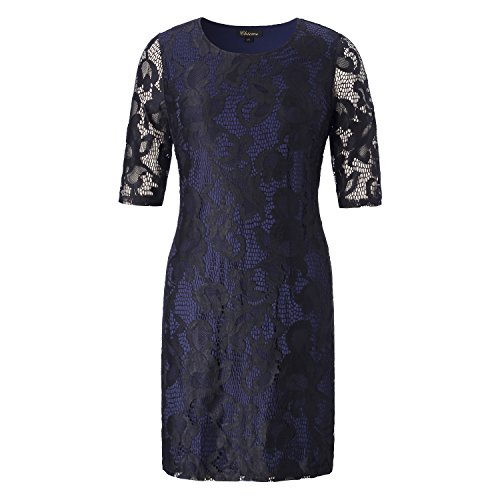 - Chicwe Women's Plus Size Stretch Lined Full Lace Shift Dress - Knee Length Casual Party Cocktail Dress 2X