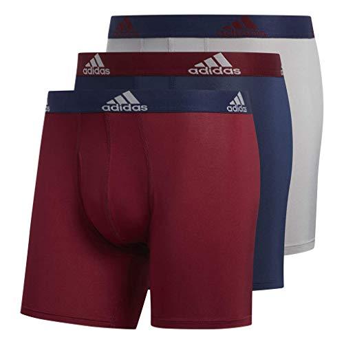 adidas Men's Climalite Boxer Briefs Underwear (3-Pack), Collegiate Burgundy/Collegiate Navy Light Onix, X-Large