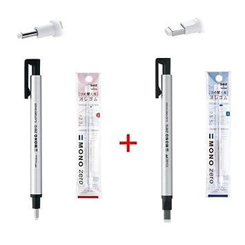 Square Tip 4 Refills Sil Tombow MONO Zero Pen-Style Eraser Refill Round Tip