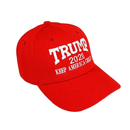 Bingoo Trump 2020 Keep America Great Embrodiery Hat Donald Trump Republican President Campaign USA Baseball Cap (Red)