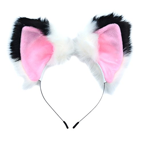 Ears Headband Cat Fox Kitten Fur Ears Hair Bands Anime Party Costume Kitty Cosplay Headband For Halloween Christmas or Kitten Theme Party Costume (Black and White)