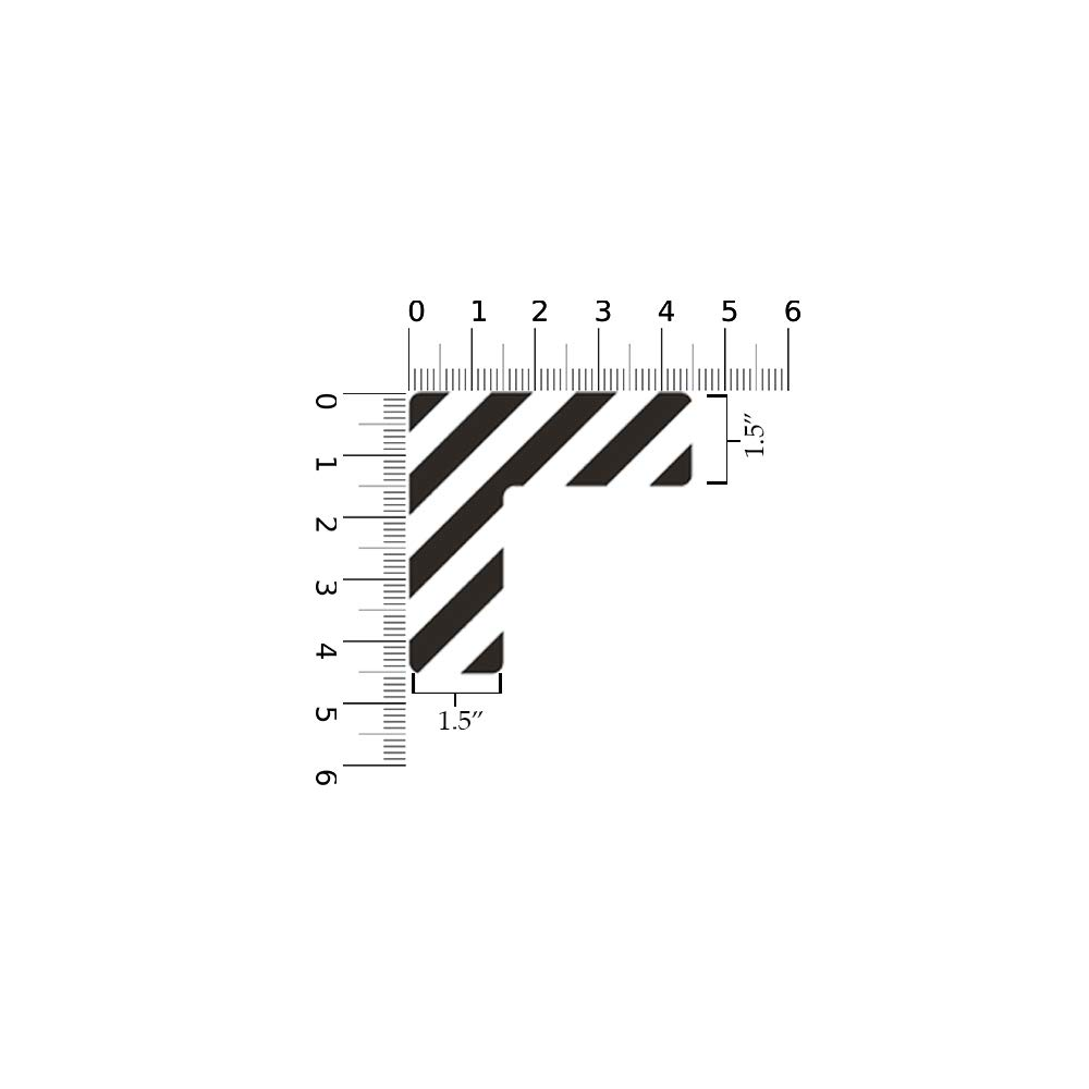 """6x6x2/"""" Durable L Shaped Floor Sticker by Graphical Warehouse 15 Pack Rounded Corners, Black//White 5S Location Marking Corner Vibrant Colors"""