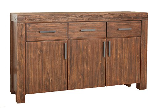 Modus Furniture 3F4173 Meadow Three Drawer Three Door Solid Wood Sideboard, Brick - Composite Wood (CARB) Status: Phase 2 Compliant All wood is kiln dried for added strength and lasting beauty Clean-lined modern styling with all solid wood construction, mortise and tendon corners and a vintage finish - sideboards-buffets, kitchen-dining-room-furniture, kitchen-dining-room - 412H%2BNRvZzL -