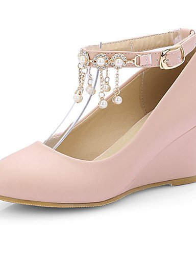 ZQ Zapatos de mujer-Tac¨®n Cu?a-Tacones / Punta Redonda-Tacones-Vestido-Semicuero-Negro / Rosa / Beige , pink-us10.5 / eu42 / uk8.5 / cn43 , pink-us10.5 / eu42 / uk8.5 / cn43 black-us9.5-10 / eu41 / uk7.5-8 / cn42