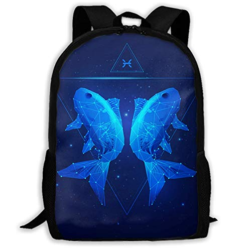 Unisex Adult School Backpack Pisces Bookbag Casual Travel Bag (100 Best Nba Players Of All Time)