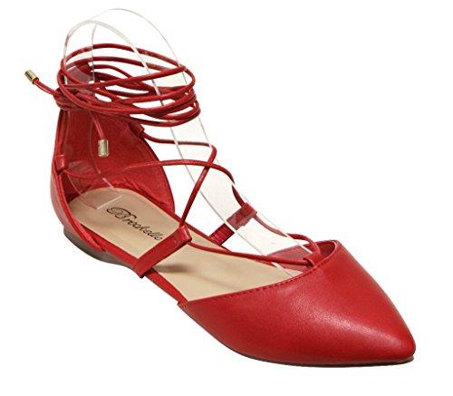Breckelles Daisy-72 Kvinnor Dorsay Mandel Poited Tå Gilly Binder Fotled Wrap Flats Pu Röd