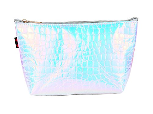 Hologram Cosmetic Bag Holographic Alligator Print Zipper Mak