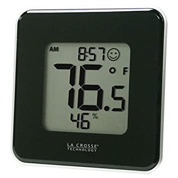 La Crosse Technology 302-604B Black Indoor Digital Thermometer and Hygrometer Station with Minimum//Maximum Records and Comfort Level Icon