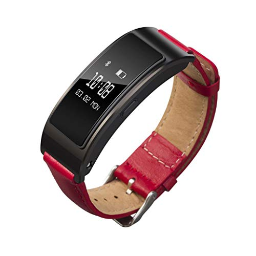 Price comparison product image Sunbona Bracelet Bands for Huawei Talkband B3,  Durable Genuine Leather Double Clasp Adjustable Sports Bangle Replacement Wrist Strap Women Men Gifts (Red)