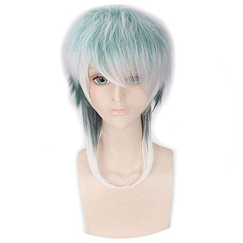Piiuiy Yuik 14inch Synthetic Green Blue Brown White Ombre Men Wig With Bangs Heat Resistant Male Wigs Cosplay,Green,14inches ()