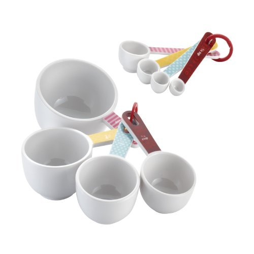 Cake Boss Countertop Accessories 8-Piece Melamine Measuring Cups and Spoons Set, Basic Pattern by Cake Boss