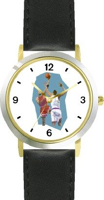 High Action Basketball Art No.4 Basketball Theme - WATCHBUDDY DELUXE TWO-TONE THEME WATCH - Arabic Numbers - Black Leather Strap-Women's Size-Small by WatchBuddy