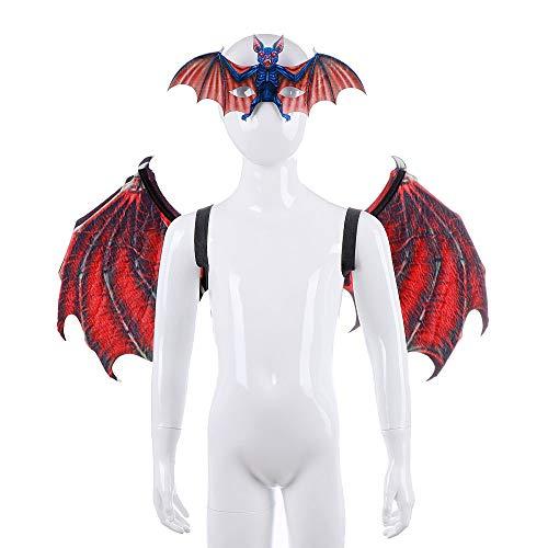 (BaronHong Children Vampire Bat Wings Mask Cosplay Costume Halloween Realistic)