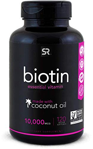 Biotin (10,000mcg) with Organic Coconut Oil | Supports Healthy Hair, Skin & Nails | Non-GMO Verified & Vegan Certified…