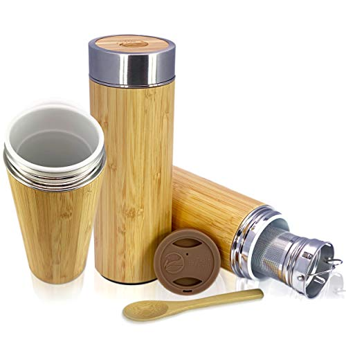 Mug Interior Travel - Bamboo Ceramic Tea Mug Tumbler - With Custom Silicone Travel Lid and Leak Resistant Lid, Infuser, and Bamboo Spoon. Termo De Ceramica Para Viaje | 1 CUP / 10OZ Capacity | By Taste The Earth