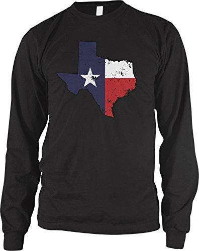 Amdesco Men's Texas State Shaped Flag, Texas Shaped Flag Long Sleeve Shirt, Black XL
