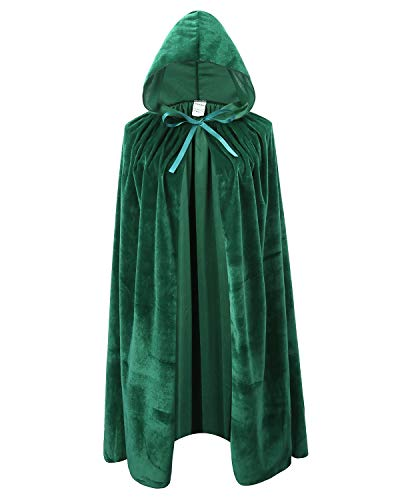 Kids Velvet Cape Cloak with Hood Unisex-Child Cosplay Halloween Christmas Costume (100cm/39.4inch, Green) -