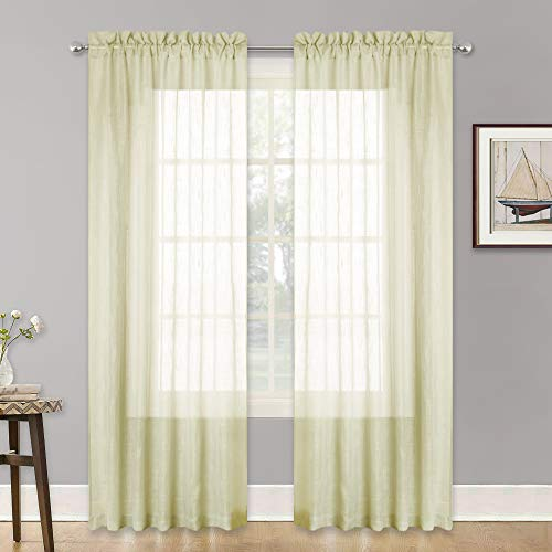 RYB HOME Linen Textured Sheer Curtains, Light Filtering Window Treatments, Pole Top Drapery Thick Material Extra Long for Kitchen/Kids Room, Pale Yellow, 52 in x 84 in per Panel, 2 Pieces
