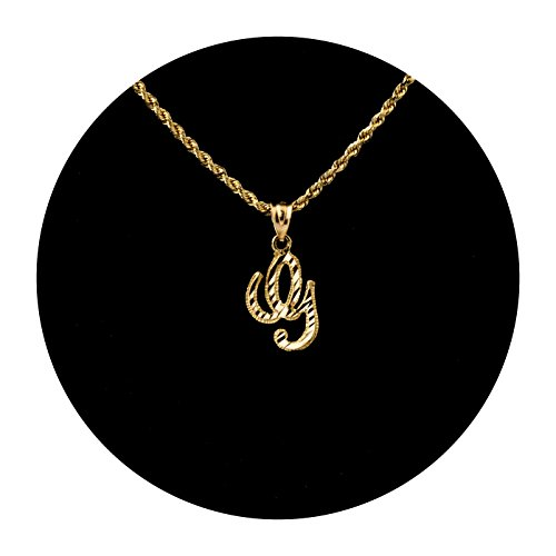LOVEBLING 10K Yellow Gold Diamond Cut Cursive Initial Pendant Charms Available Letters from A to Z ()