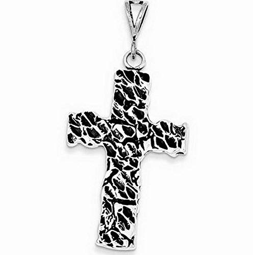(Sterling Silver Antiqued Nugget Cross Charm (1.7in x 1in) Vintage Crafting Pendant Jewelry Making Supplies - DIY for Necklace Bracelet Accessories by CharmingSS)