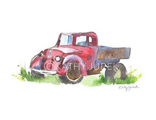 Old Red Pickup Truck Print / Vintage Truck Wall Decor / Truck Wall Art / Red Truck Decor