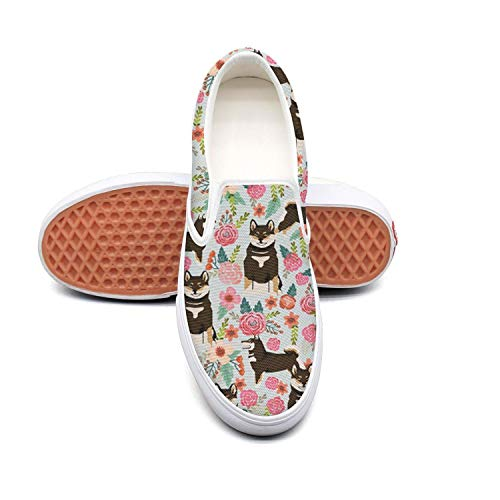 Shiba Inu Dog And Flowers Florals Non Slip Shoes for Women Sneakers (Slip-On) -