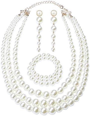 Finrezio Women's Faux Three Multi-Strand Pearl Necklace Long Pearl Dangle Earrings and Bracelet Jewelry Set for Women