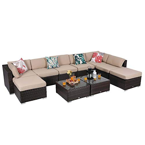 PHI VILLA 10-Piece Patio Furniture Set Rattan Sectional Sofa with Seat Cushions and Ottoman, Beige