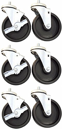 """4"""" x 1-1/4"""" Caster Set of 6 for True Refrigerators, Polyolefin Wheels from Access Casters Inc."""