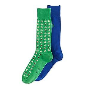 Polo Ralph Lauren Mens 2PK Paisley Dress Socks Blue 10-13