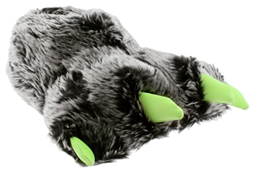 Capelli New York Boys faux Fur Bear Claw Glow In The Dark Indoor Slippers Black Combo 3/4