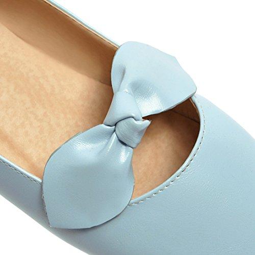 Confortable Femme a Bout Sandales Mary Rond Bleu AIYOUMEI Élégant Jane Chaussure Papillon Plate ARwA0x