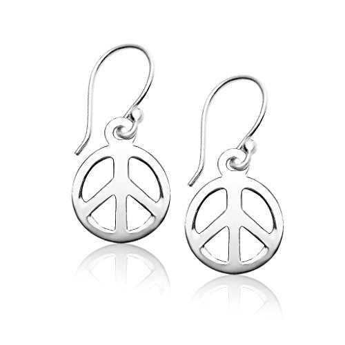 Sterling Silver Dangle Drop Peace Sign Hook Earrings, One Pair (Hook Earrings Set)
